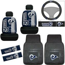 9pc NFL Los Angeles Rams Car Seat Covers Floor Mats Steering