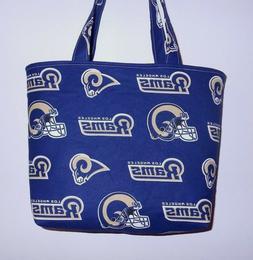 Handmade NFL Los Angeles LA Rams Tote Purse Bag