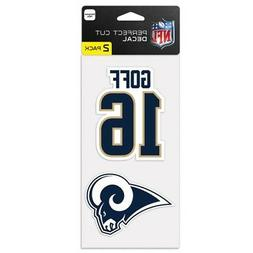 """JARED GOFF LOS ANGELES RAMS 4""""X8"""" 2 PIECE PERFECT CUT DECAL"""
