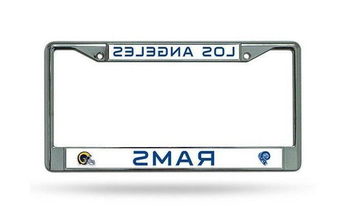 los angeles rams chrome metal license plate