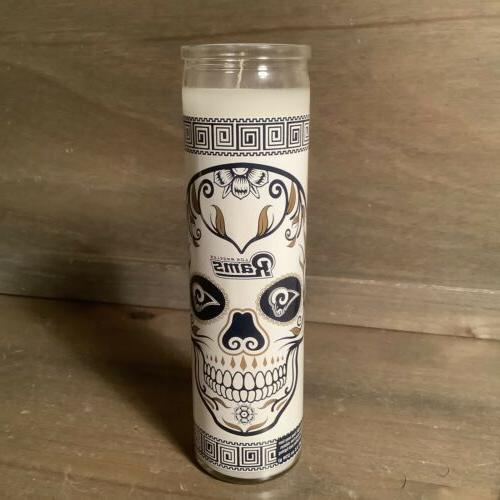 rams day of the dead candle glass