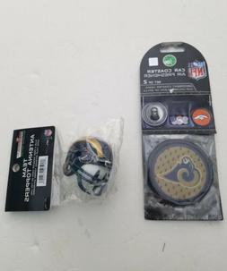Los Angeles Rams antenna topper and a set of two car coaster