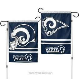 "LOS ANGELES RAMS DOUBLE SIDED GARDEN FLAG 12""X18"" YARD BANNE"