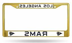 Los Angeles Rams GOLD Color Chrome Metal License Plate Tag F
