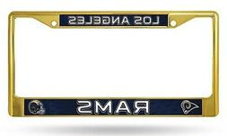 Los Angeles Rams LBL Gold Chrome Frame Metal License Plate T