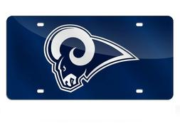 Los Angeles Rams Navy Blue Mirrored Laser Cut License Plate