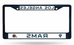 Los Angeles Rams NAVY RETRO Chrome Frame Metal License Plate