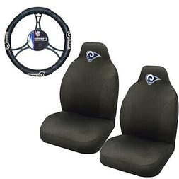 NFL Los Angeles Rams Car Truck 2 Front Seat Covers & Steerin