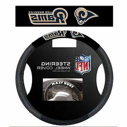 NFL Los Angeles Rams Poly Suede Steering Wheel Cover, One Si