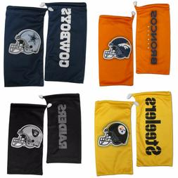 NFL Microfiber Drawstring Sunglasses Bag Pouch and Cleaning