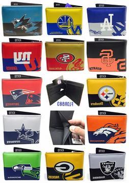 NFL,MLB,NBA,NHL Team Mens Printed logo Leather Bi-fold Walle