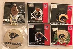 Set of 5 Los Angeles Rams Logo Pins and a Rams Refrigerator
